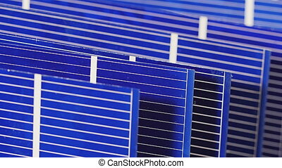 Solar panel cell components, detail view, sliding video