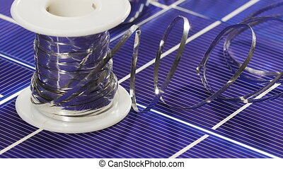 Solar panel cell elements and wires assembling details, ...