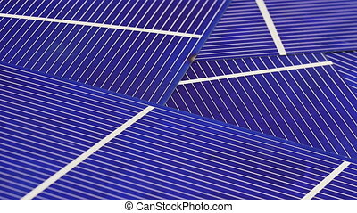 Solar panel cell elements detail view rotating background, ...