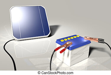 a squared solar panel illuminated by sunlight is charging a car battery with two terminals connected on the poles positive and negative