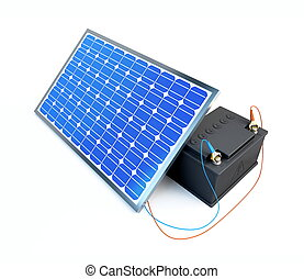solar panel charges the battery on a white background