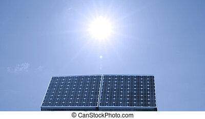 Solar panel - Closeup of a solar panel, blue sky