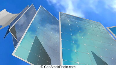 """Solar panel concept animation, electricity, generator, ..."