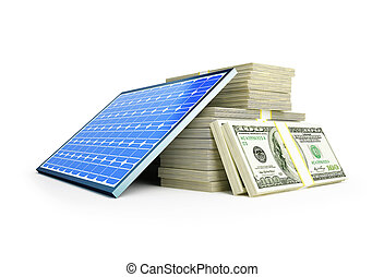 solar panel dollar on a white background