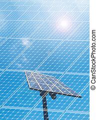 Solar panel under blue sky with sun flare