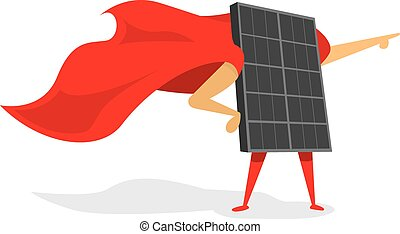 Solar panel energy as super hero with cape