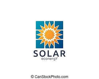 Solar panel energy logo icon. zero waste concept design