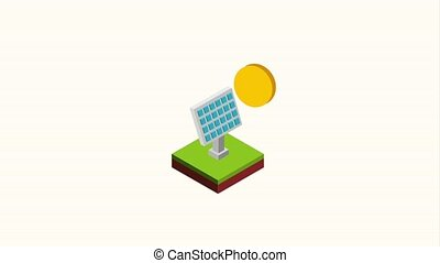 solar panel energy sustainable isometric animation hd