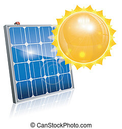 Solar Panel - Green Energy Concept with Solar Panel and Sun,...