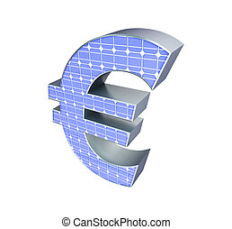 solar panel euro sign on a white background