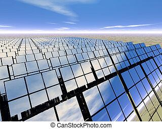 Solar panel farm in the desert - 3D rendered solar panel...