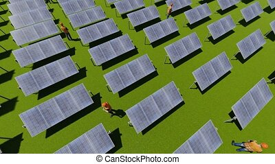 Solar panel fields with green energy workers 4k