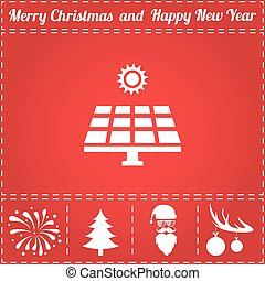 Solar panel Icon Vector. And bonus symbol for New Year - Santa Claus, Christmas Tree, Firework, Balls on deer antlers