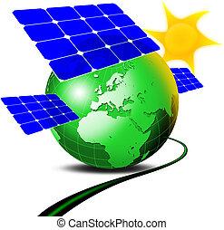 Solar panel - Illustration of green terrestrial globe with 3...
