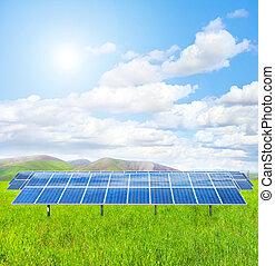 Solar panel in a green field