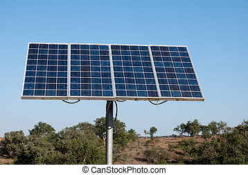 Solar panel in camp house in mountain