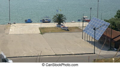 Solar panel in coastal city - View to the coastline in the...