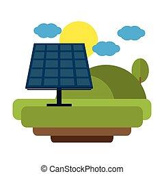 Solar panel in nature landscape