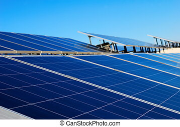 Solar panel installation - Blue solar panel installation
