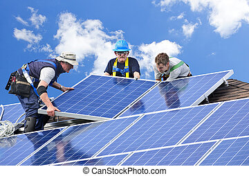 Solar panel installation - Workers installing alternative ...