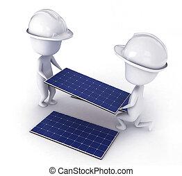 Solar Panel Installer - 3D Illustration of Men Installing ...