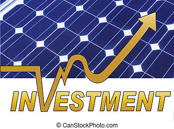 solar panel investment - solar panel in the background with ...