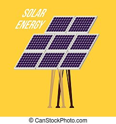 Solar Panel Isolated on Yellow Background