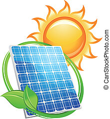 solar panel, och, batterier, med, sol, symbol
