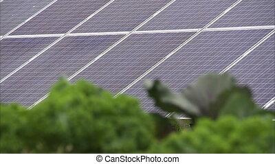 Solar panel on a farm - A focus to blur shot of a solar...