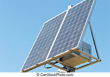 solar panel on the sky background