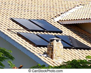 solar panel, på, den, tak, för, vatten, uppvärmning