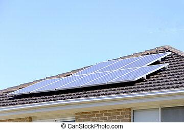 solar panel, på, tak