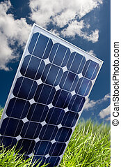 Solar panel in the fresh grass