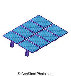 Solar panel plant icon, isometric style