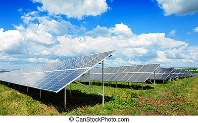 Solar panel produces green, enviromentaly friendly energy ...