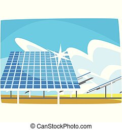 Solar panel, production of energy from the sun, ecological energy producing station, renewable resources horizontal vector illustration