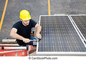 Solar Panel Repair with Copyspace - Electrician repairing...