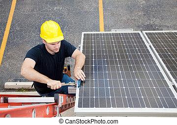 Solar Panel Repair with Copyspace - Electrician repairing...