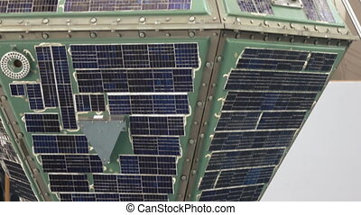Solar panel satellite - Panorama of solar panel space ...