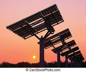 solar panel, silhuett, med, mycket, vacker, solnedgång