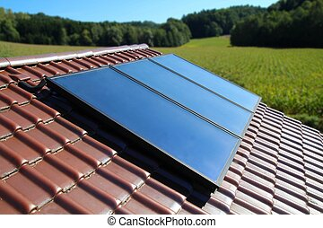 Solar panel - Solar collector on a cottage in the country