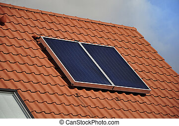 Solar panel. - Solar panel on the roof of a private house.