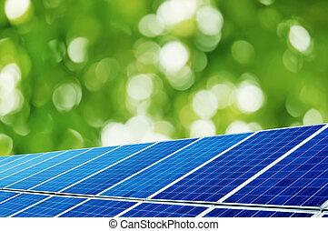 Solar Panel - Solar panels under the trees background