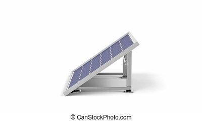 Solar panel spins on white background