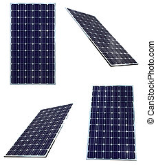 Solar panel - Blue solar panels in different positions...