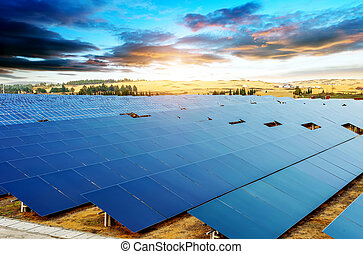 Solar Panel - In the evening, when the solar panels