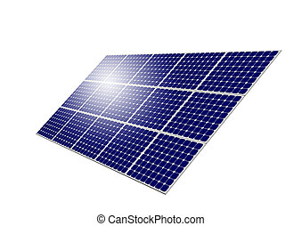 Solar Panel System with sun reflection isolated on white...