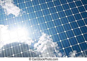 Solar panel - The sunny sky is reflected, in the solar...