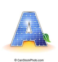 solar panels texture icon or symbol, alphabet capital letter A