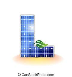 solar panels texture icon or symbol, alphabet capital letter L